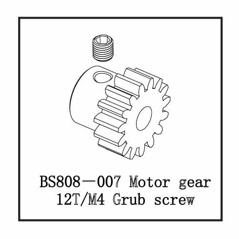 MOTOR GEAR 12T/M4 GRUB SCREW
