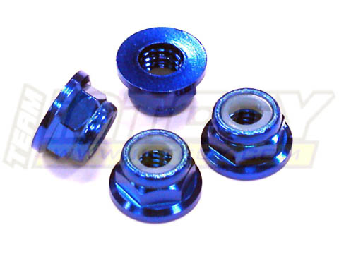 Blue Alloy Billet 5mm Locking Wheel Nuts (4) Fits Earthquake 8E