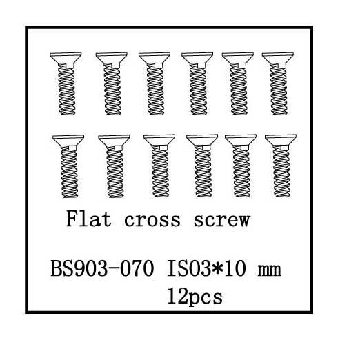 Flat Cross Screw(ISO3*10) 12 PCS