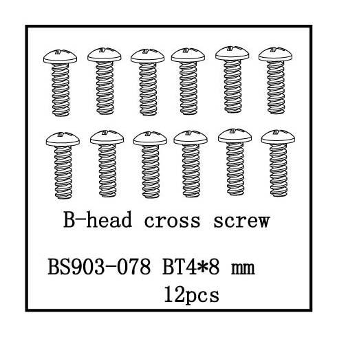 B-Head Cross Screw(BT4*8) 12 PCS
